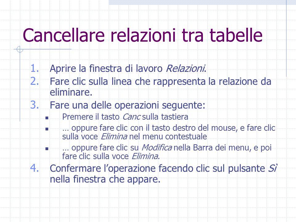 Cancellare relazioni tra tabelle 1. Aprire la finestra di lavoro Relazioni. 2. Fare clic sulla linea che rappresenta la relazione da eliminare. 3. Far