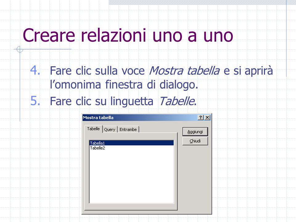 Creare relazioni uno a uno 4. Fare clic sulla voce Mostra tabella e si aprirà l'omonima finestra di dialogo. 5. Fare clic su linguetta Tabelle.
