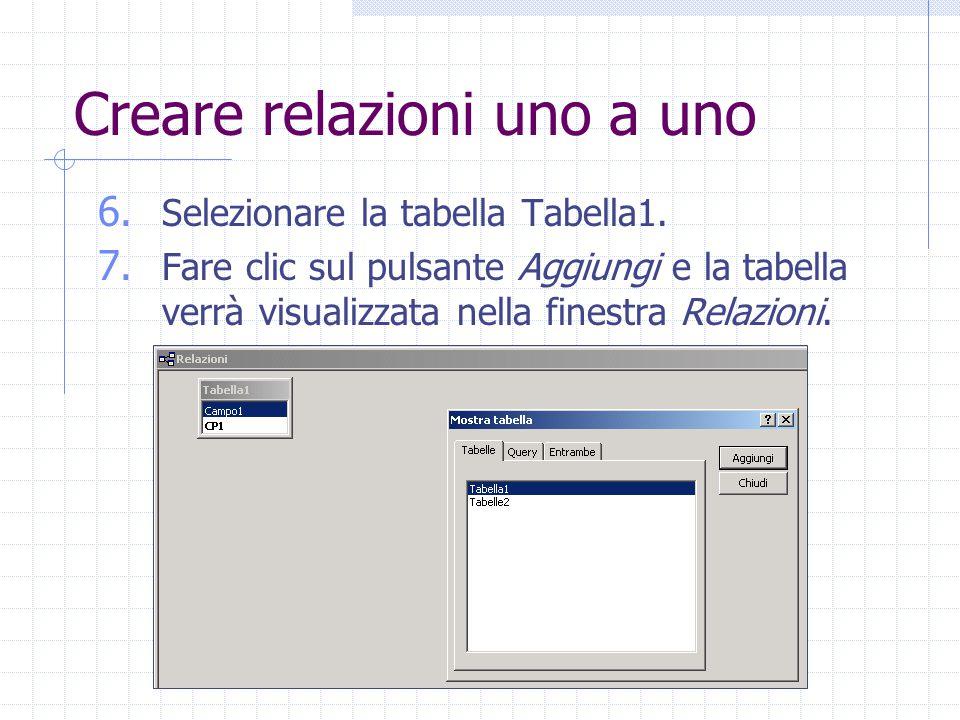 Creare relazioni uno a uno 6. Selezionare la tabella Tabella1. 7. Fare clic sul pulsante Aggiungi e la tabella verrà visualizzata nella finestra Relaz