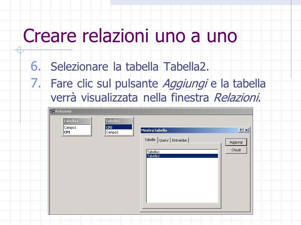 Creare relazioni uno a uno 6. Selezionare la tabella Tabella2. 7. Fare clic sul pulsante Aggiungi e la tabella verrà visualizzata nella finestra Relaz