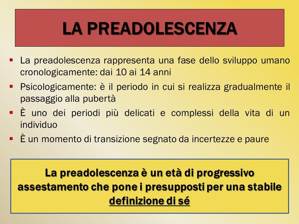 LA PREADOLESCENZA  La preadolescenza rappresenta una fase dello sviluppo umano cronologicamente: dai 10 ai 14 anni  Psicologicamente: è il periodo in cui si realizza gradualmente il passaggio alla pubertà  È uno dei periodi più delicati e complessi della vita di un individuo  È un momento di transizione segnato da incertezze e paure La preadolescenza è un età di progressivo assestamento che pone i presupposti per una stabile definizione di sé