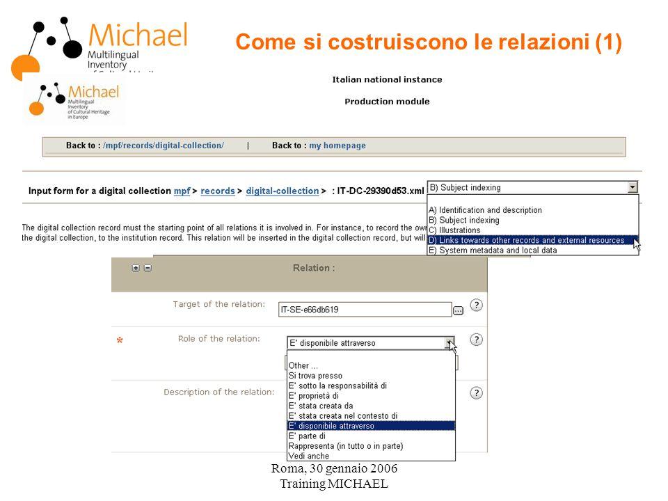 Roma, 30 gennaio 2006 Training MICHAEL Come si costruiscono le relazioni (1)