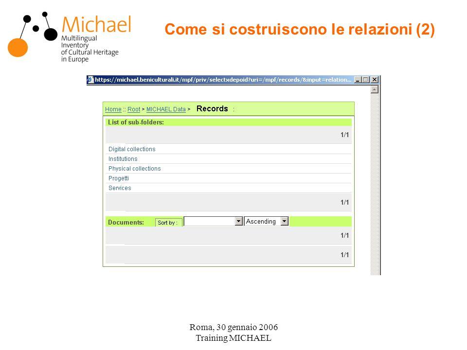 Roma, 30 gennaio 2006 Training MICHAEL Come si costruiscono le relazioni (2)