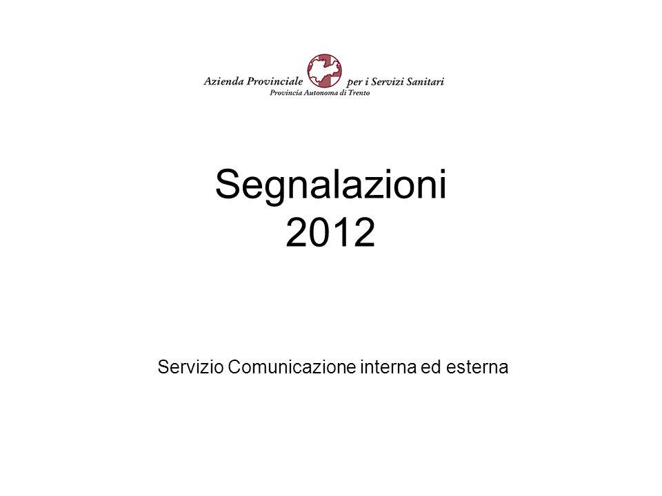 Segnalazioni 2012 Servizio Comunicazione interna ed esterna