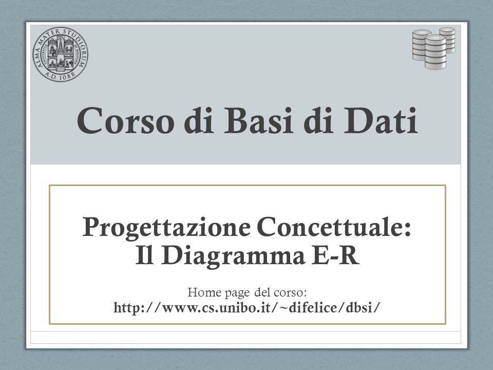 Corso di Basi di Dati Progettazione Concettuale: Il Diagramma E-R Home page del corso: http://www.cs.unibo.it/~difelice/dbsi/