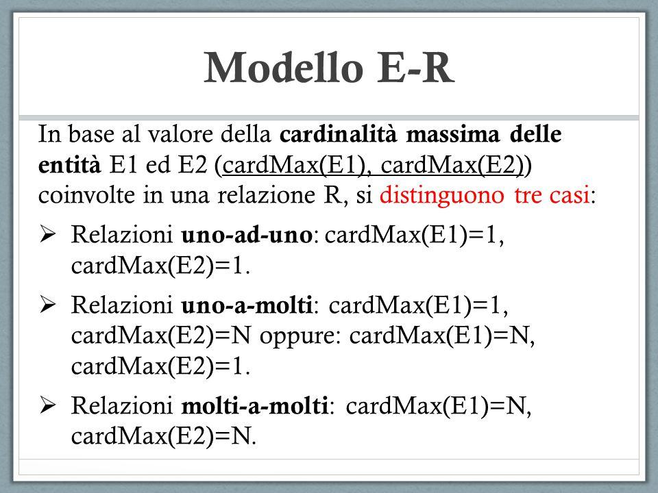 Modello E-R In base al valore della cardinalità massima delle entità E1 ed E2 (cardMax(E1), cardMax(E2)) coinvolte in una relazione R, si distinguono