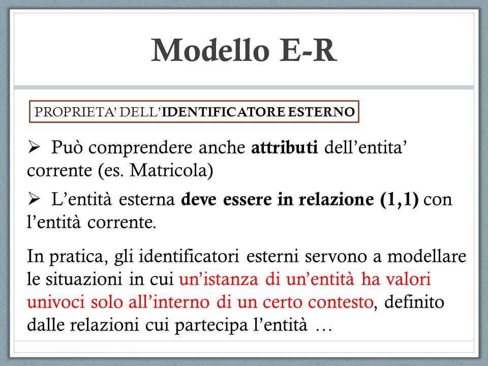 Modello E-R PROPRIETA' DELL' IDENTIFICATORE ESTERNO  Può comprendere anche attributi dell'entita' corrente (es. Matricola)  L'entità esterna deve es