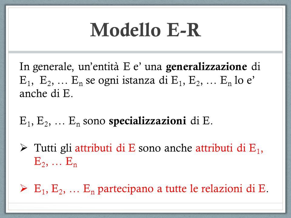 Modello E-R In generale, un'entità E e' una generalizzazione di E 1, E 2, … E n se ogni istanza di E 1, E 2, … E n lo e' anche di E. E 1, E 2, … E n s