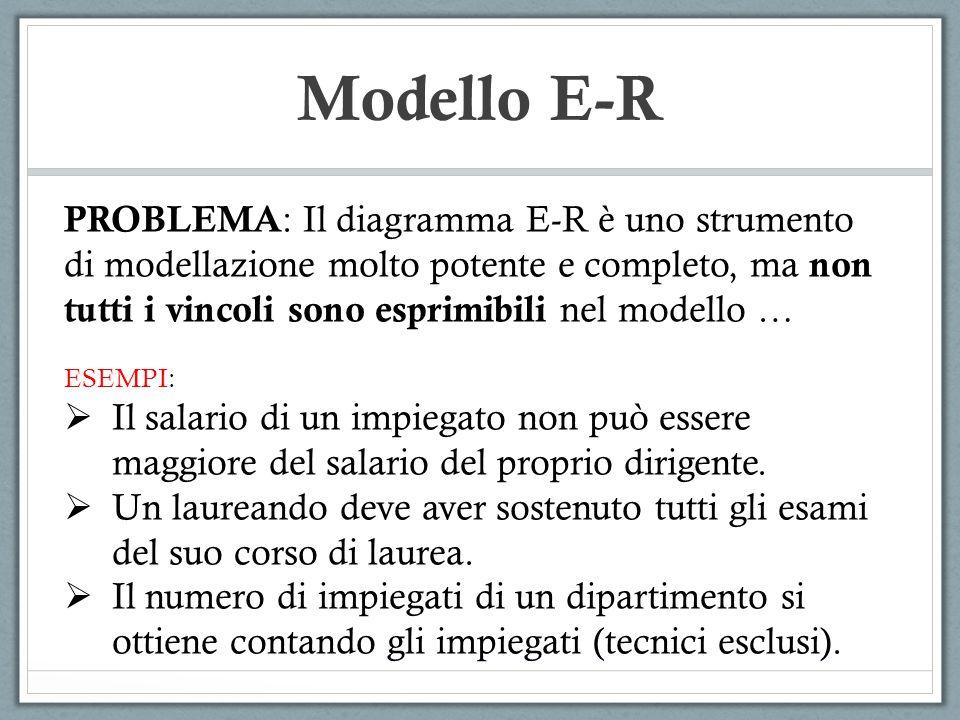 Modello E-R PROBLEMA : Il diagramma E-R è uno strumento di modellazione molto potente e completo, ma non tutti i vincoli sono esprimibili nel modello