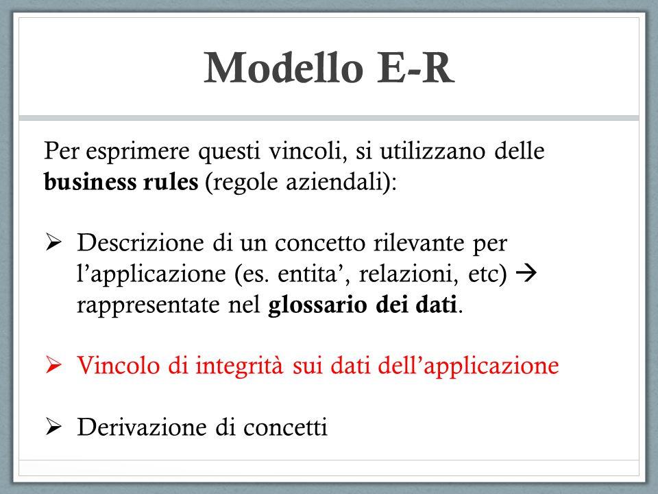 Modello E-R I vincoli di integrità possono essere espressi mediante asserzioni, ossia affermazioni che devono essere sempre verificate sulla base di dati.
