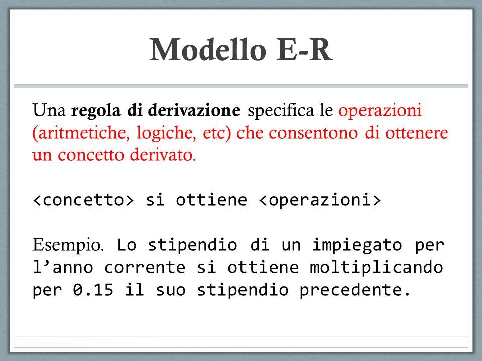 Modello E-R Una regola di derivazione specifica le operazioni (aritmetiche, logiche, etc) che consentono di ottenere un concetto derivato. si ottiene