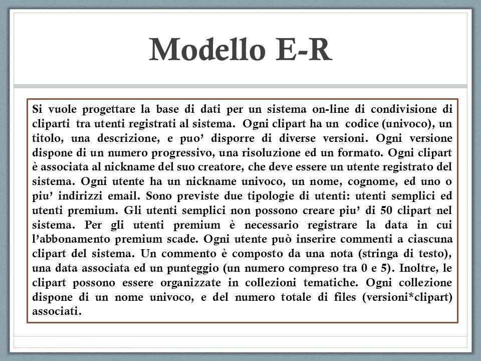Modello E-R Si vuole progettare la base di dati per un sistema on-line di condivisione di cliparti tra utenti registrati al sistema. Ogni clipart ha u