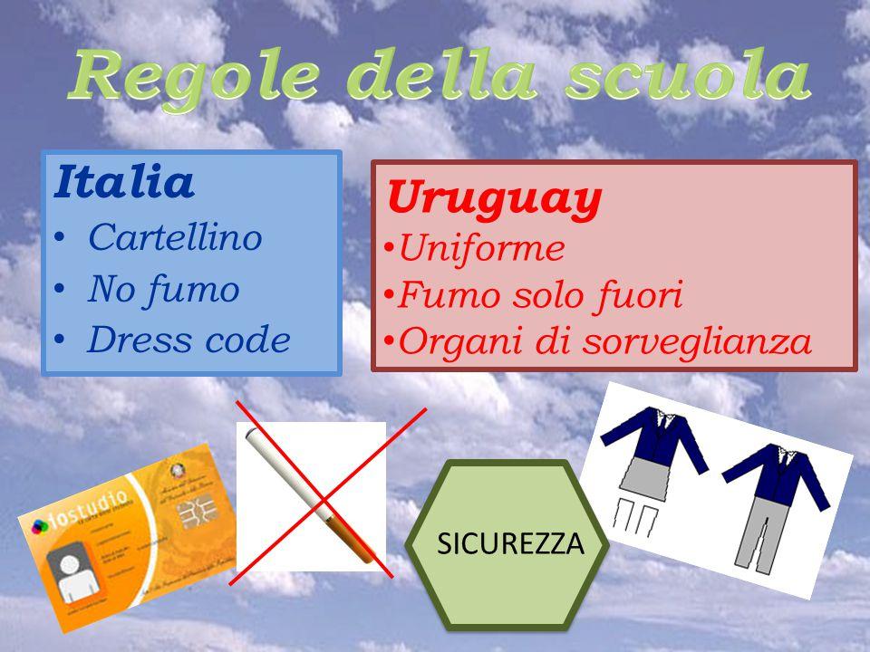 Italia Cartellino No fumo Dress code Uruguay Uniforme Fumo solo fuori Organi di sorveglianza SICUREZZA