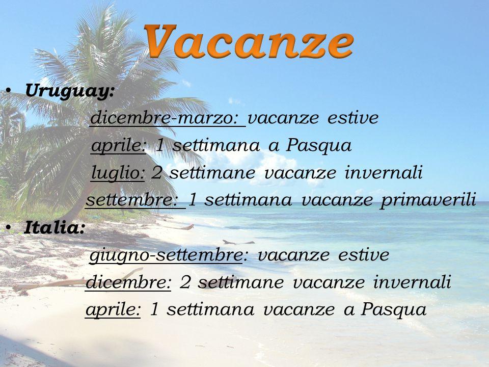 Uruguay: dicembre-marzo: vacanze estive aprile: 1 settimana a Pasqua luglio: 2 settimane vacanze invernali settembre: 1 settimana vacanze primaverili Italia: giugno-settembre: vacanze estive dicembre: 2 settimane vacanze invernali aprile: 1 settimana vacanze a Pasqua
