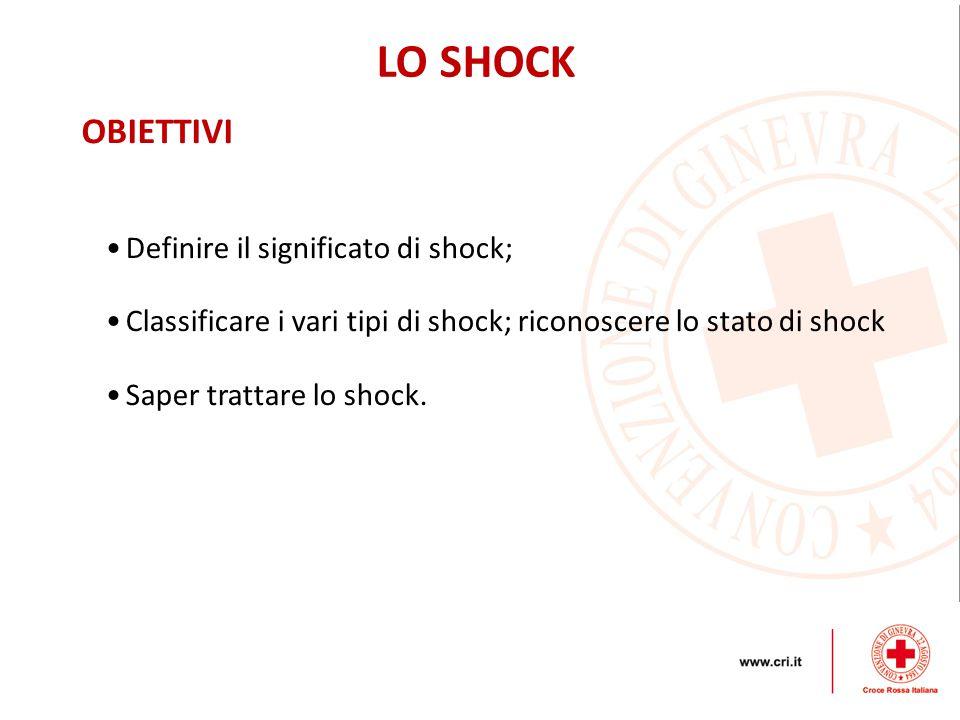 LO SHOCK OBIETTIVI Definire il significato di shock; Classificare i vari tipi di shock; riconoscere lo stato di shock Saper trattare lo shock.