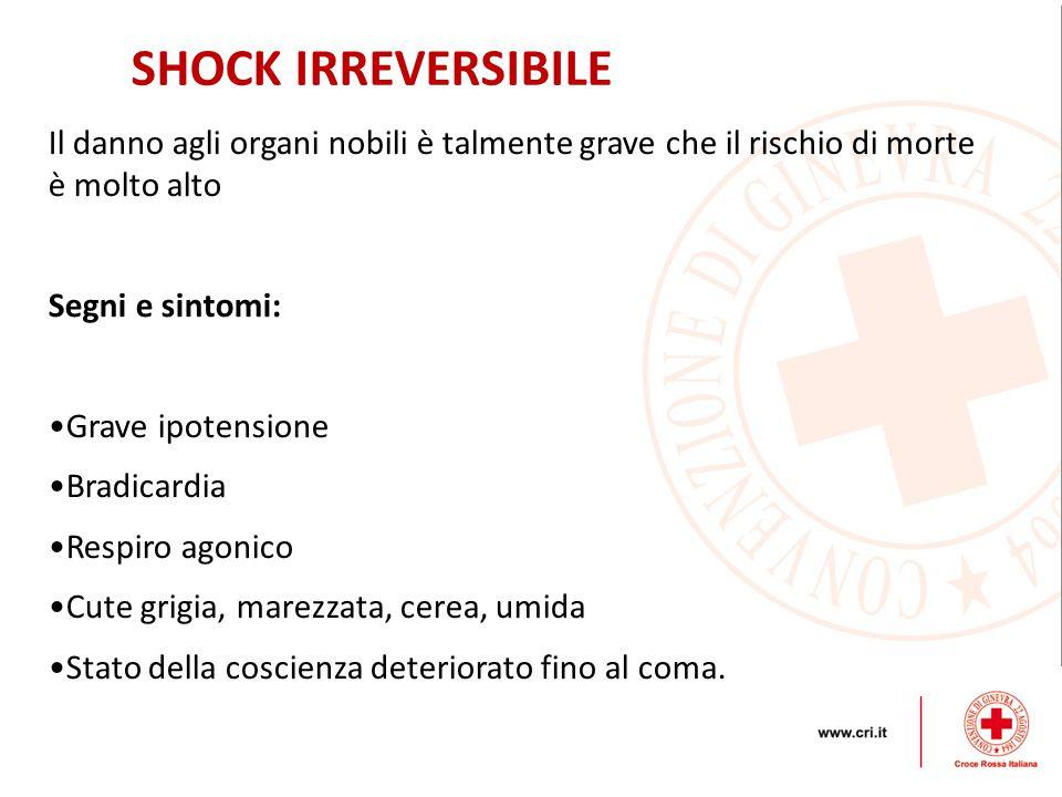 Il danno agli organi nobili è talmente grave che il rischio di morte è molto alto Segni e sintomi: Grave ipotensione Bradicardia Respiro agonico Cute