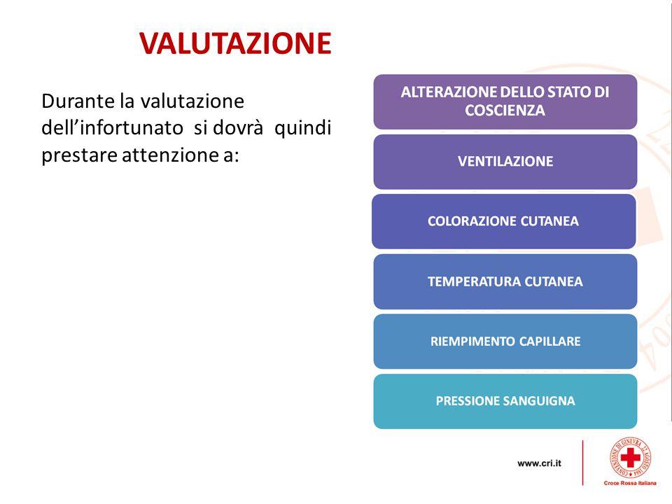 VALUTAZIONE Durante la valutazione dell'infortunato si dovrà quindi prestare attenzione a: