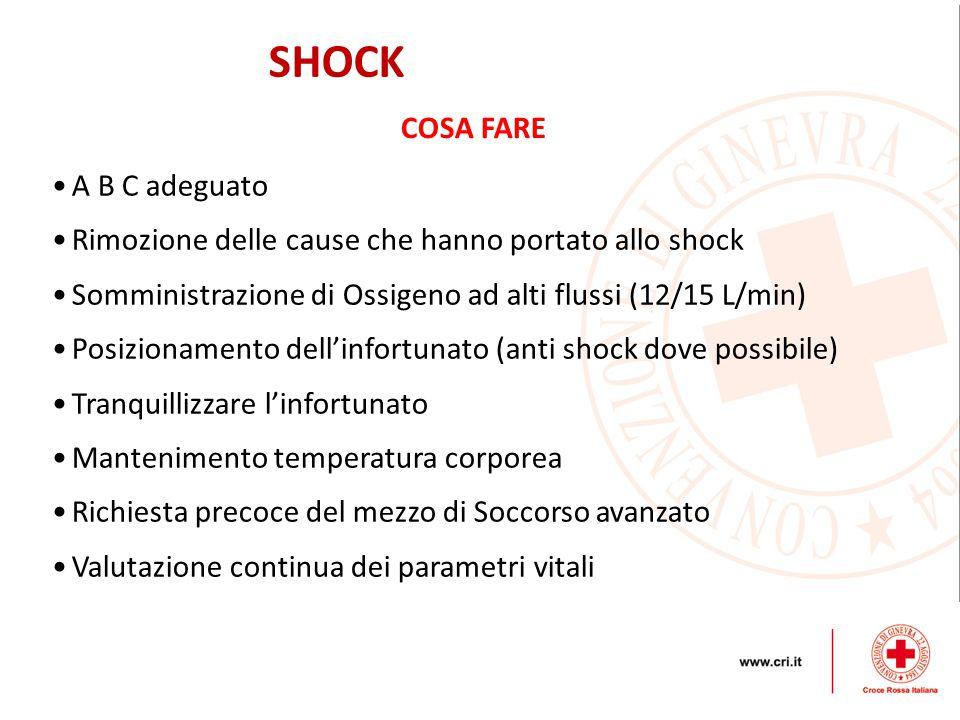 SHOCK A B C adeguato Rimozione delle cause che hanno portato allo shock Somministrazione di Ossigeno ad alti flussi (12/15 L/min) Posizionamento dell'