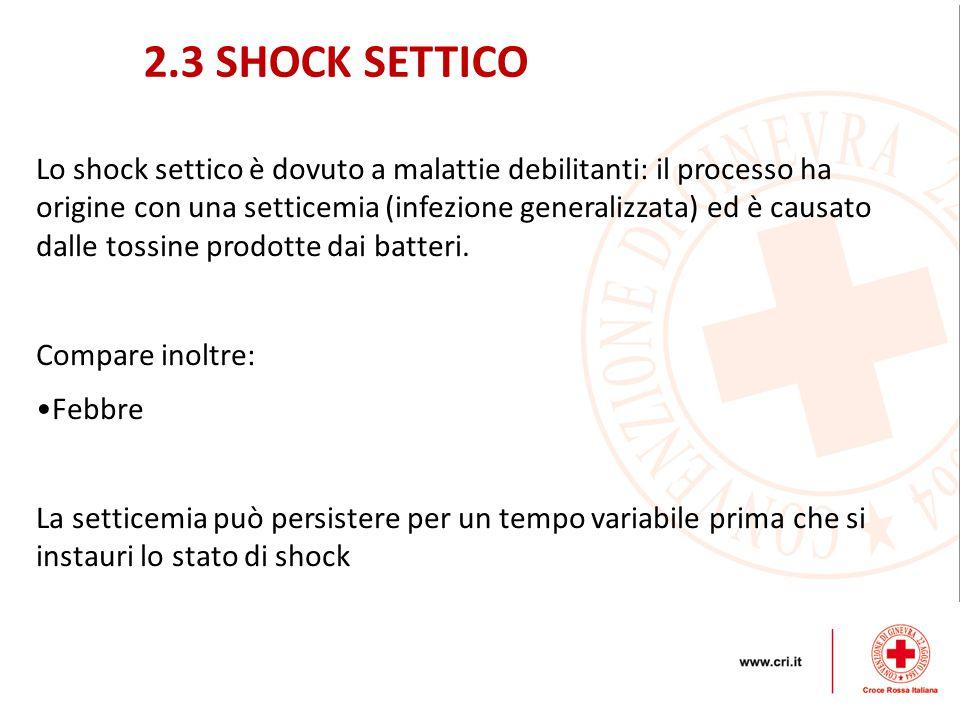 Lo shock settico è dovuto a malattie debilitanti: il processo ha origine con una setticemia (infezione generalizzata) ed è causato dalle tossine prodo