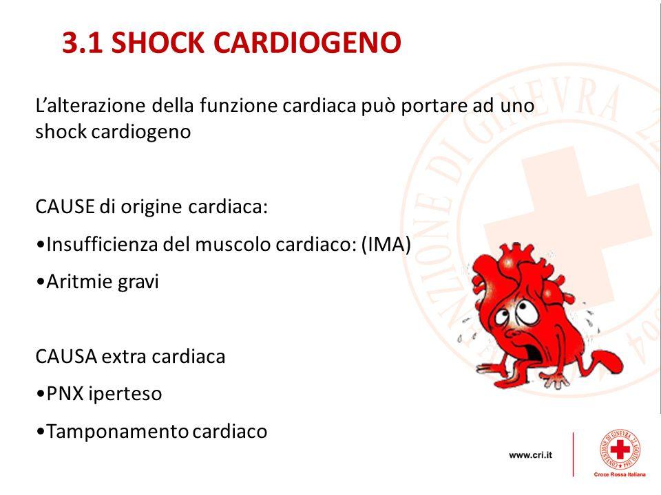 L'alterazione della funzione cardiaca può portare ad uno shock cardiogeno CAUSE di origine cardiaca: Insufficienza del muscolo cardiaco: (IMA) Aritmie