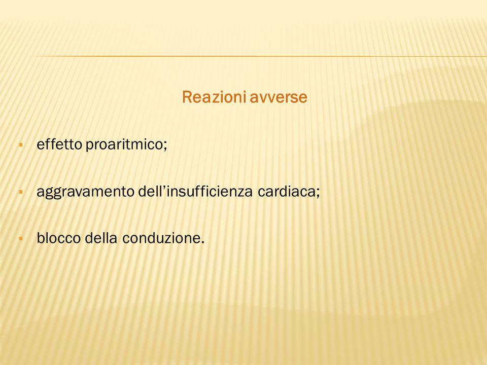 Reazioni avverse  effetto proaritmico;  aggravamento dell'insufficienza cardiaca;  blocco della conduzione.