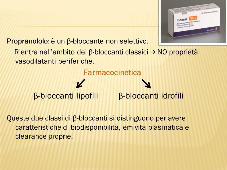 Propranololo: è un β-bloccante non selettivo. Rientra nell'ambito dei β-bloccanti classici  NO proprietà vasodilatanti periferiche. Farmacocinetica β