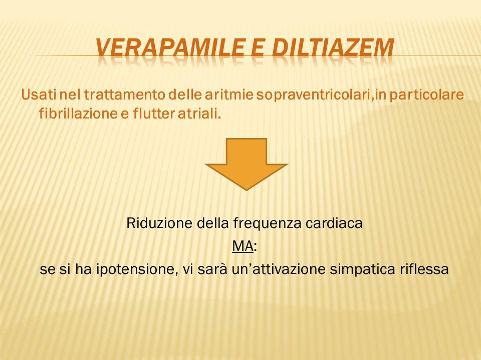 Usati nel trattamento delle aritmie sopraventricolari,in particolare fibrillazione e flutter atriali. Riduzione della frequenza cardiaca MA: se si ha