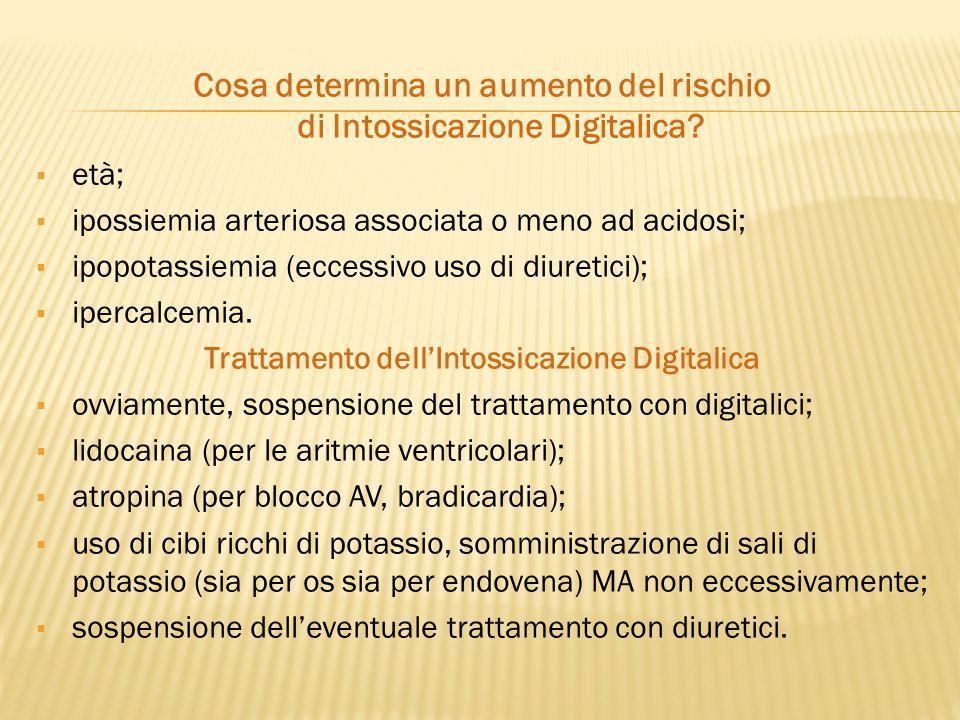 Cosa determina un aumento del rischio di Intossicazione Digitalica?  età;  ipossiemia arteriosa associata o meno ad acidosi;  ipopotassiemia (ecces