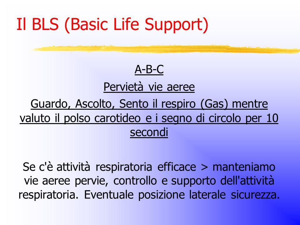 Il BLS (Basic Life Support) A-B-C Pervietà vie aeree Guardo, Ascolto, Sento il respiro (Gas) mentre valuto il polso carotideo e i segno di circolo per 10 secondi Se c è attività respiratoria efficace > manteniamo vie aeree pervie, controllo e supporto dell attività respiratoria.
