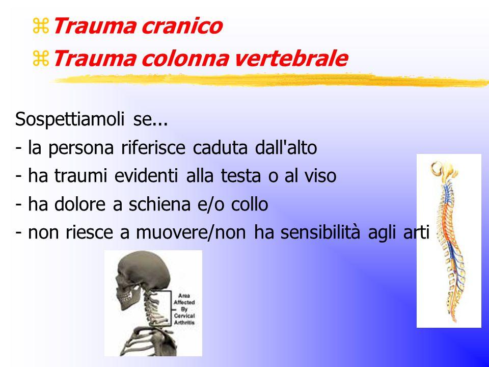  Trauma cranico  Trauma colonna vertebrale Sospettiamoli se...