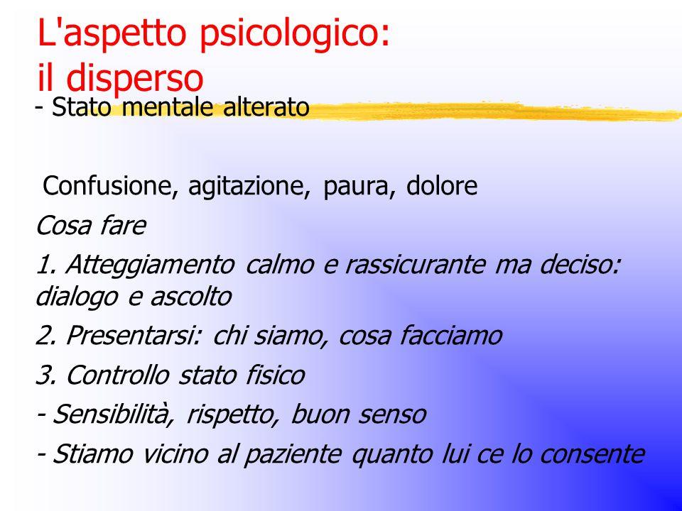 L aspetto psicologico: il disperso - Stato mentale alterato Confusione, agitazione, paura, dolore Cosa fare 1.