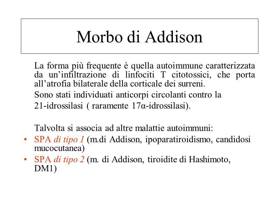 Insufficienza corticosurreralica cronica primitiva o Morbo di Addison: etiologia Adrenalite autoimmune80% Tubercolosi19% Altre1% –Istoplasmosi, blasto