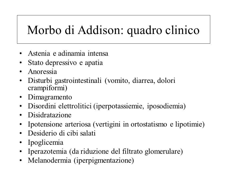 Morbo di Addison: patogenesi Distruzione o atrofia primaria del corticosurrene → riduzione dei corticosteroidi (cortisolo) → inefficace controregolazi
