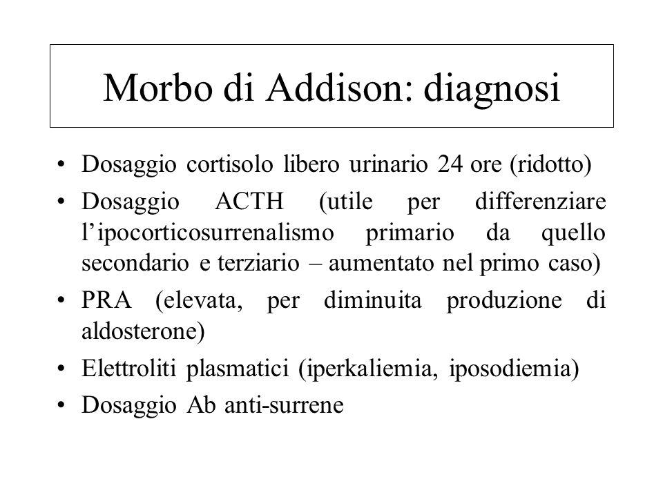 Morbo di Addison: quadro clinico Astenia e adinamia intensa Stato depressivo e apatia Anoressia Disturbi gastrointestinali (vomito, diarrea, dolori cr