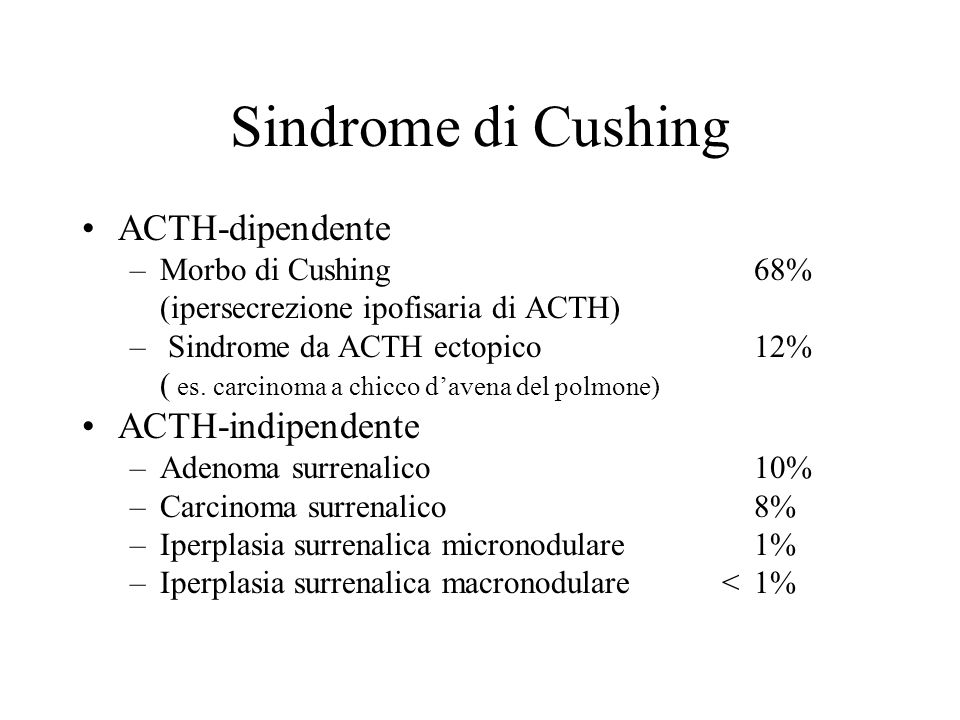 Sindromi da iperfunzione surrenalica La SINDROME di CUSHING è una condizione di iperfunzione cortico- surrenalica caratterizzata da una prevalente ipe