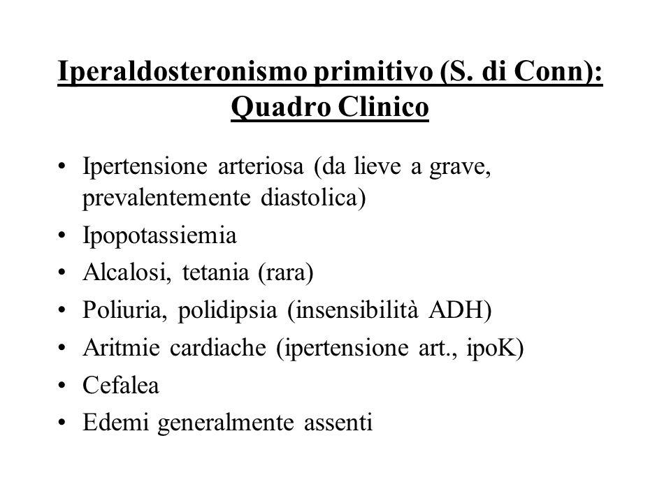 Iperaldosteronismo primitivo (S. di Conn) Anatomia patologica –Adenoma (50%) –Carcinoma (molto raro) –Iperplasia bilaterale (nodulare o diffusa) (50%)