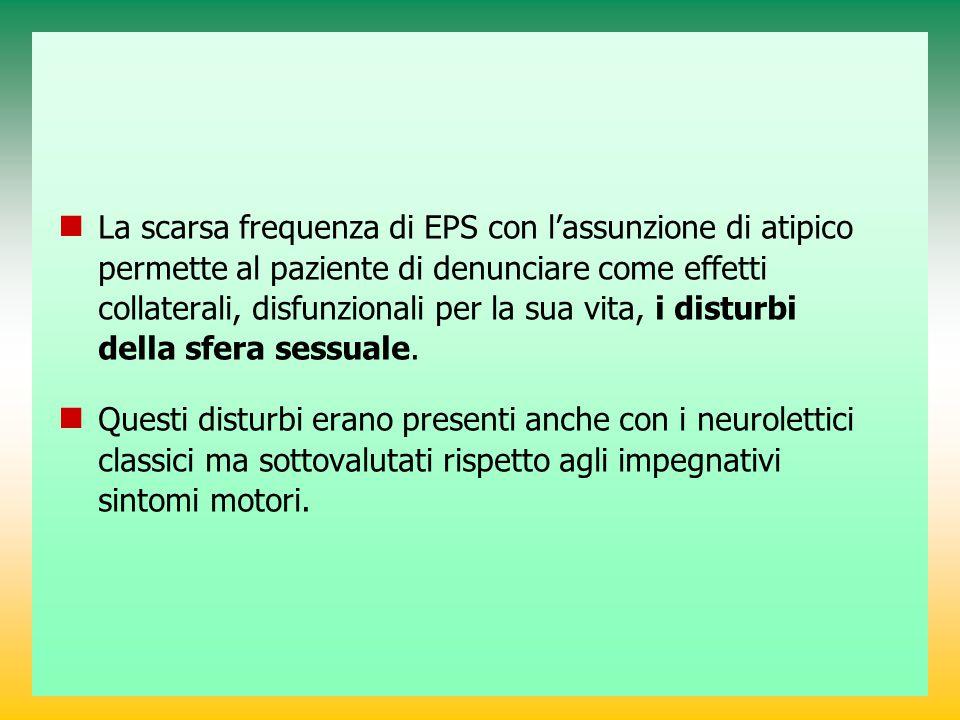 La scarsa frequenza di EPS con l'assunzione di atipico permette al paziente di denunciare come effetti collaterali, disfunzionali per la sua vita, i d