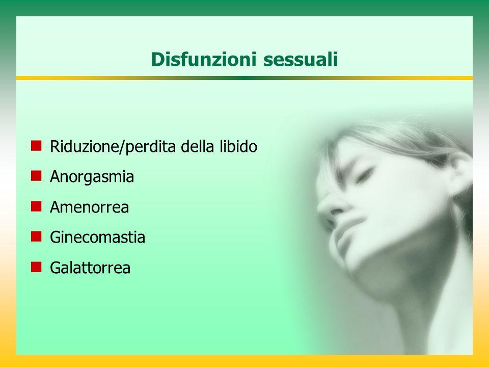 Disfunzioni sessuali Riduzione/perdita della libido Anorgasmia Amenorrea Ginecomastia Galattorrea