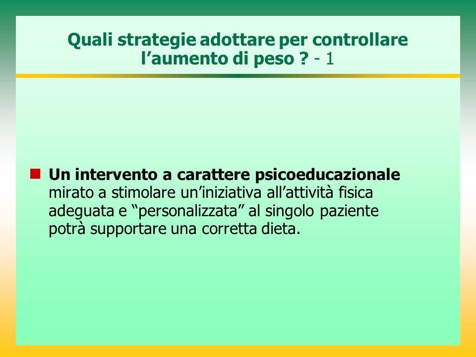 Quali strategie adottare per controllare l'aumento di peso ? - 1 Un intervento a carattere psicoeducazionale mirato a stimolare un'iniziativa all'atti