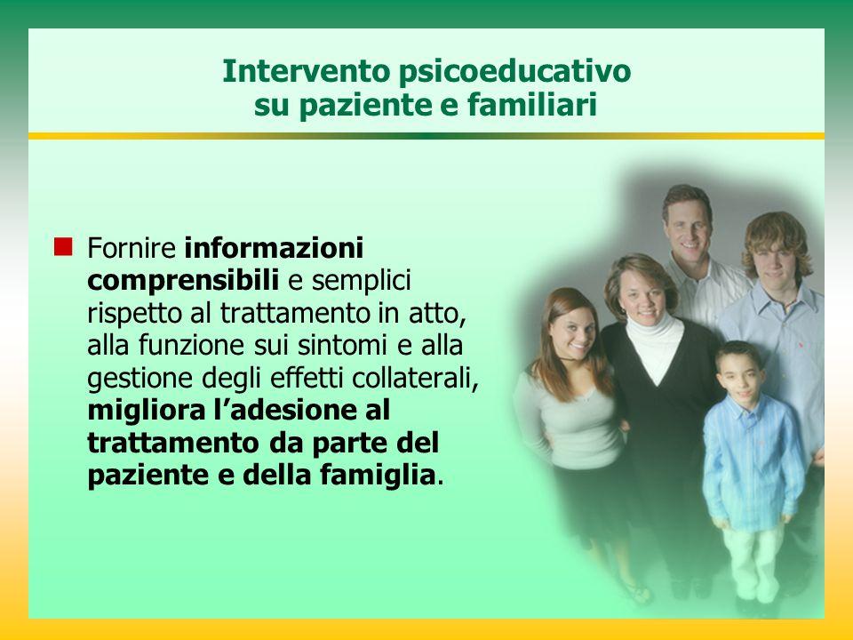 Intervento psicoeducativo su paziente e familiari Fornire informazioni comprensibili e semplici rispetto al trattamento in atto, alla funzione sui sin