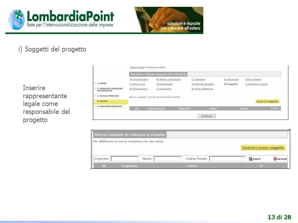 13 di 28 i) Soggetti del progetto Inserire rappresentante legale come responsabile del progetto