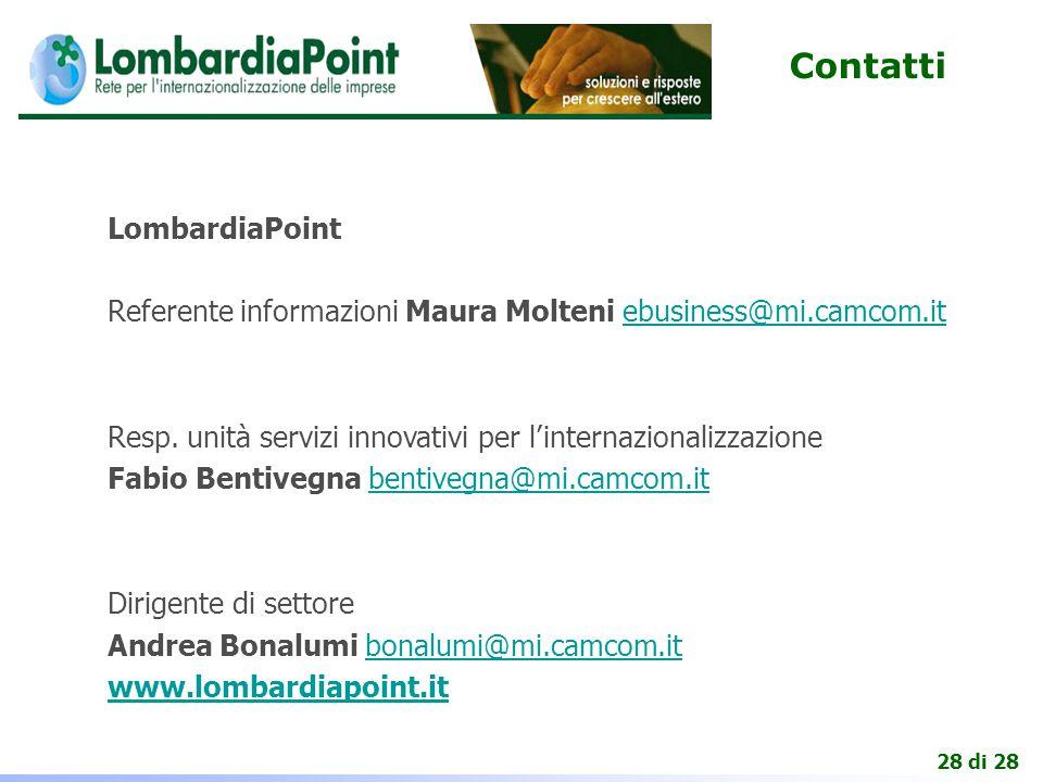28 di 28 Contatti LombardiaPoint Referente informazioni Maura Molteni ebusiness@mi.camcom.it Resp.
