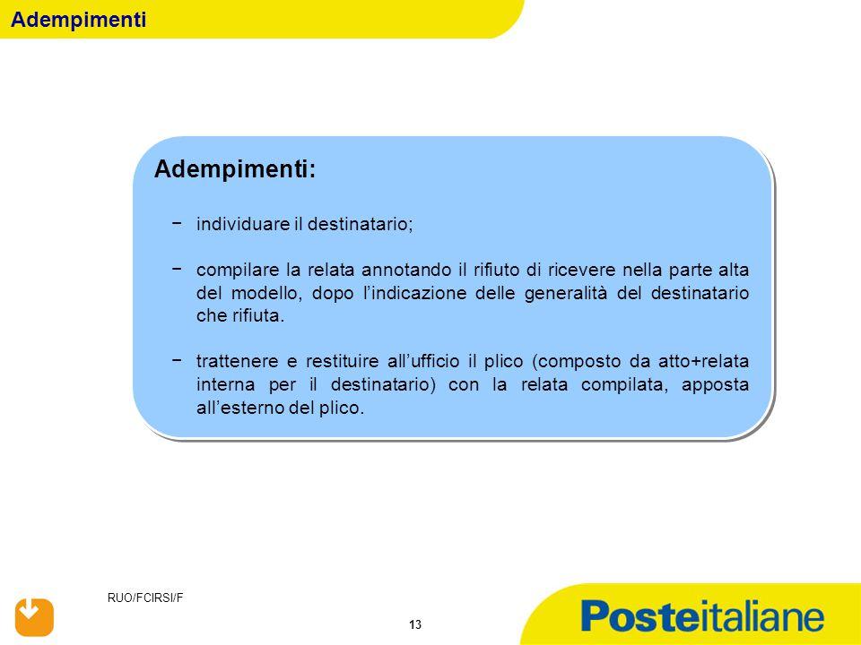 RUO/FCIRSI/F 13 Adempimenti Adempimenti: −individuare il destinatario; −compilare la relata annotando il rifiuto di ricevere nella parte alta del mode