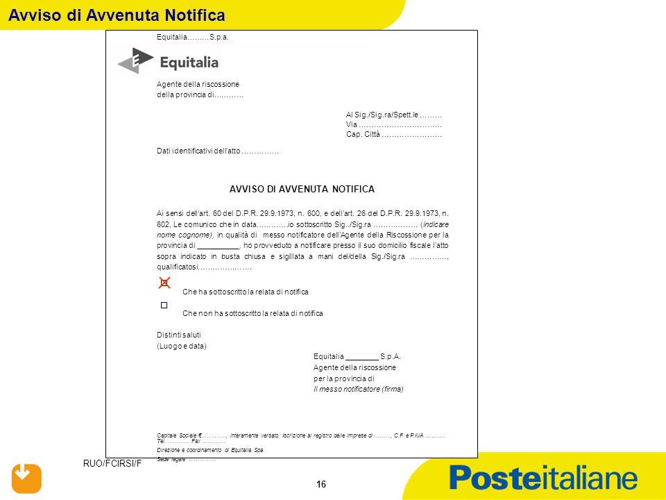 RUO/FCIRSI/F 16 Avviso di Avvenuta Notifica Equitalia………S.p.a. Agente della riscossione della provincia di………… Al Sig./Sig.ra/Spett.le ……… Via …………………