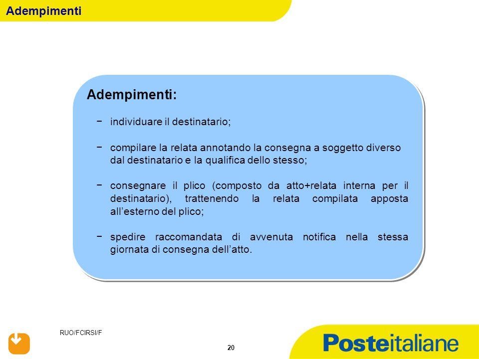 RUO/FCIRSI/F 20 Adempimenti Adempimenti: −individuare il destinatario; −compilare la relata annotando la consegna a soggetto diverso dal destinatario