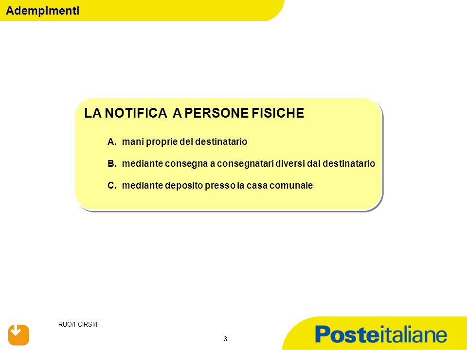 RUO/FCIRSI/F 44 Avviso di Notifica di Atto mediante deposito nella Casa Comunale