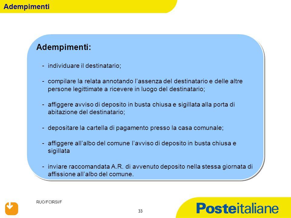 RUO/FCIRSI/F 33 Adempimenti: -individuare il destinatario; -compilare la relata annotando l'assenza del destinatario e delle altre persone legittimate
