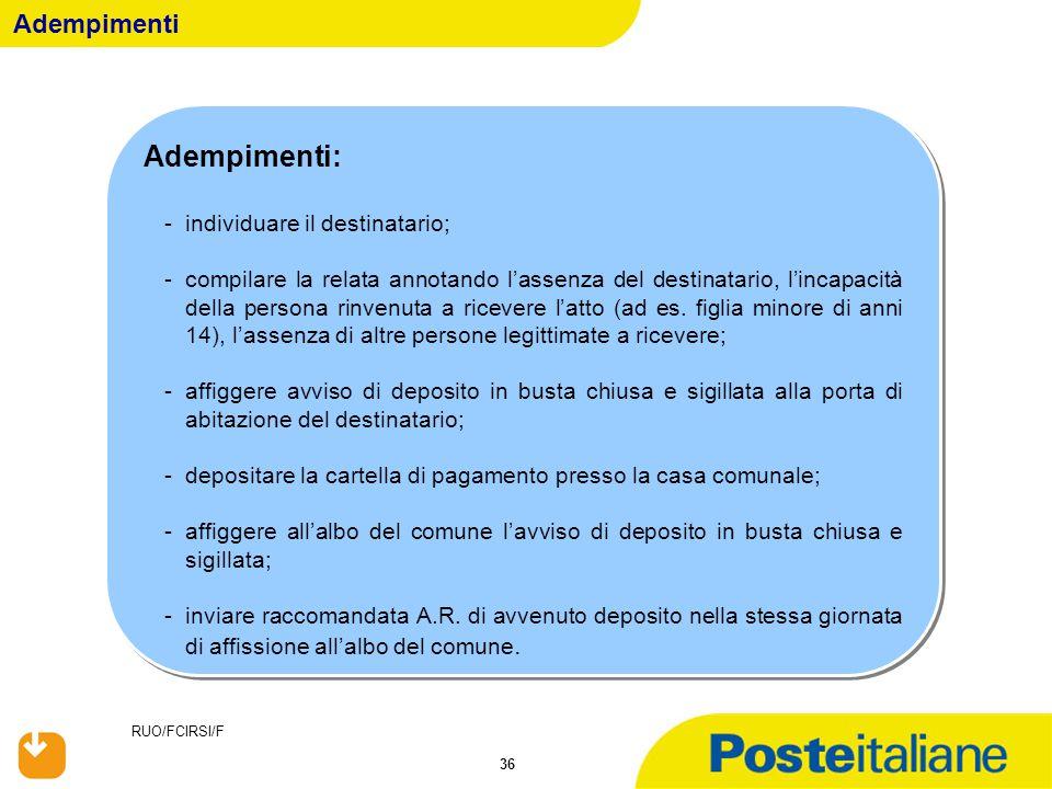 RUO/FCIRSI/F 36 Adempimenti: -individuare il destinatario; -compilare la relata annotando l'assenza del destinatario, l'incapacità della persona rinve