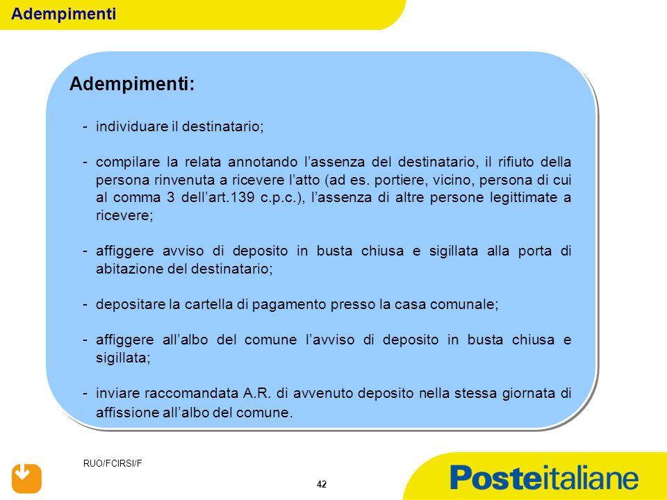 RUO/FCIRSI/F 42 Adempimenti: -individuare il destinatario; -compilare la relata annotando l'assenza del destinatario, il rifiuto della persona rinvenu