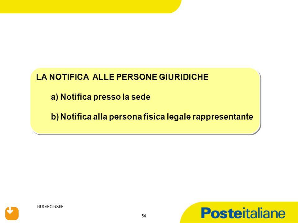 RUO/FCIRSI/F 54 LA NOTIFICA ALLE PERSONE GIURIDICHE a)Notifica presso la sede b)Notifica alla persona fisica legale rappresentante LA NOTIFICA ALLE PE